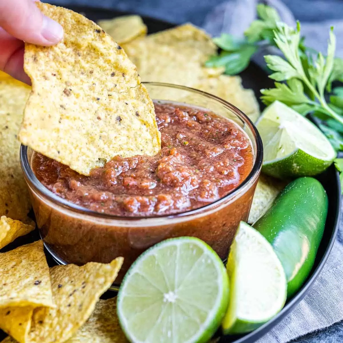 Restaurant Style Salsa in bowl dipping chip