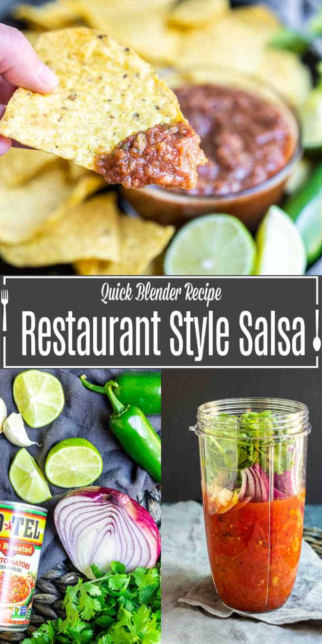 Pinterest image for 5 Minute Restaurant Style Salsa with title text