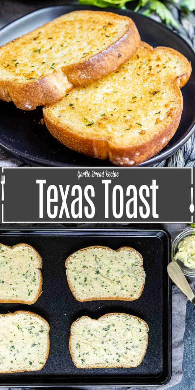 Pinterst image of Texas Toast with title text