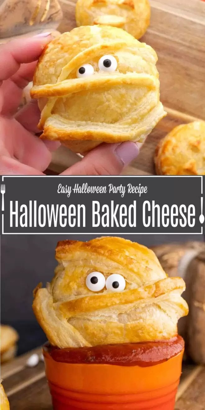 Pinterest image for Halloween Baked Cheese with title text