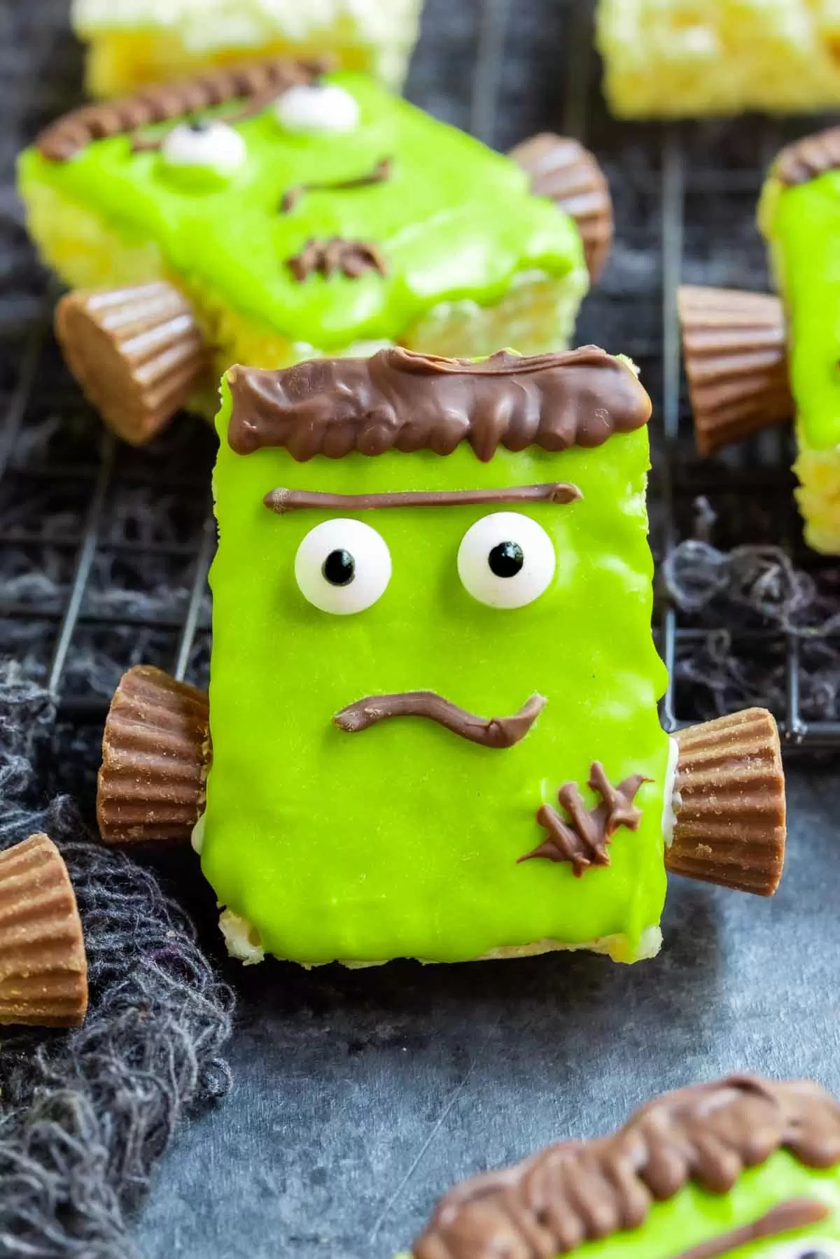 Frankenstein Rice Krispies Treats decorated with colored candy melts