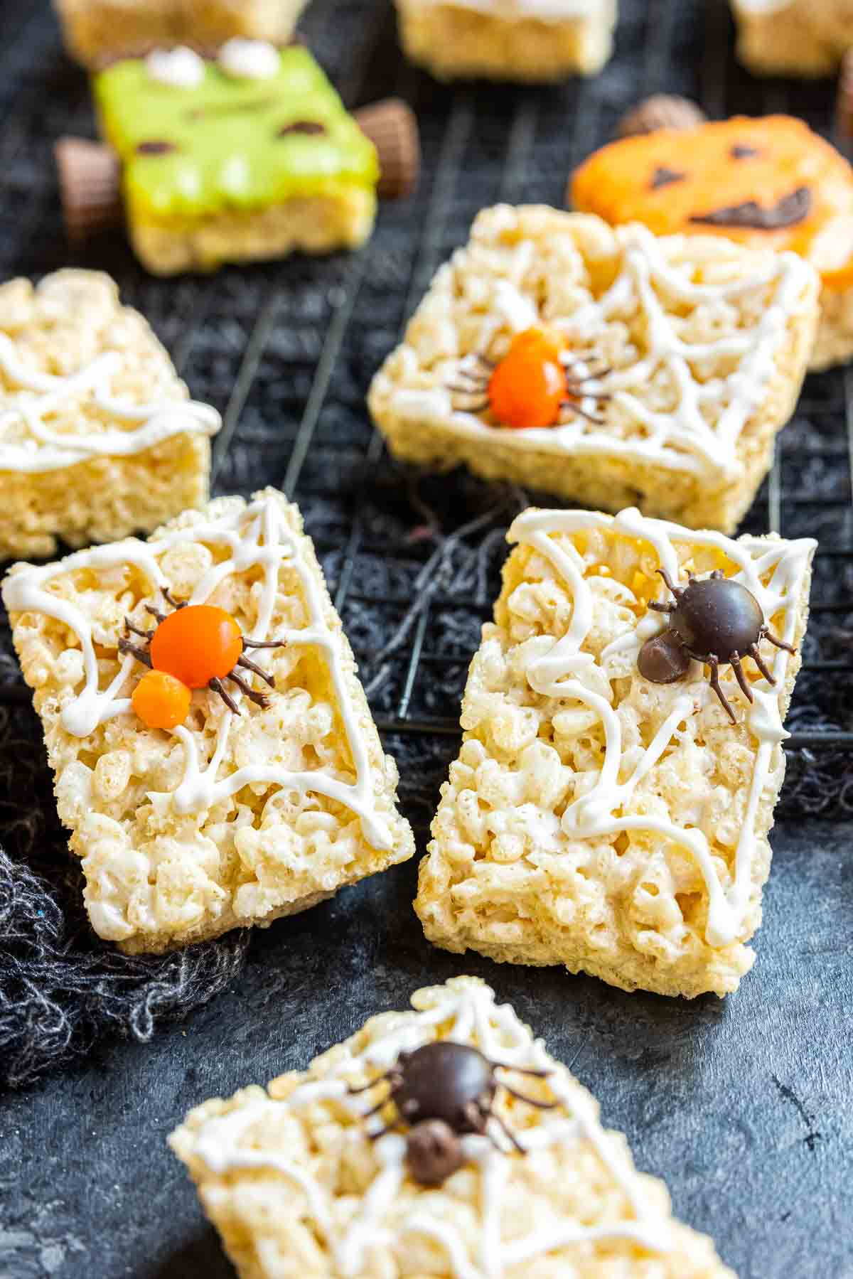 Spider Rice Krispies Treats decorated with colored candy melts