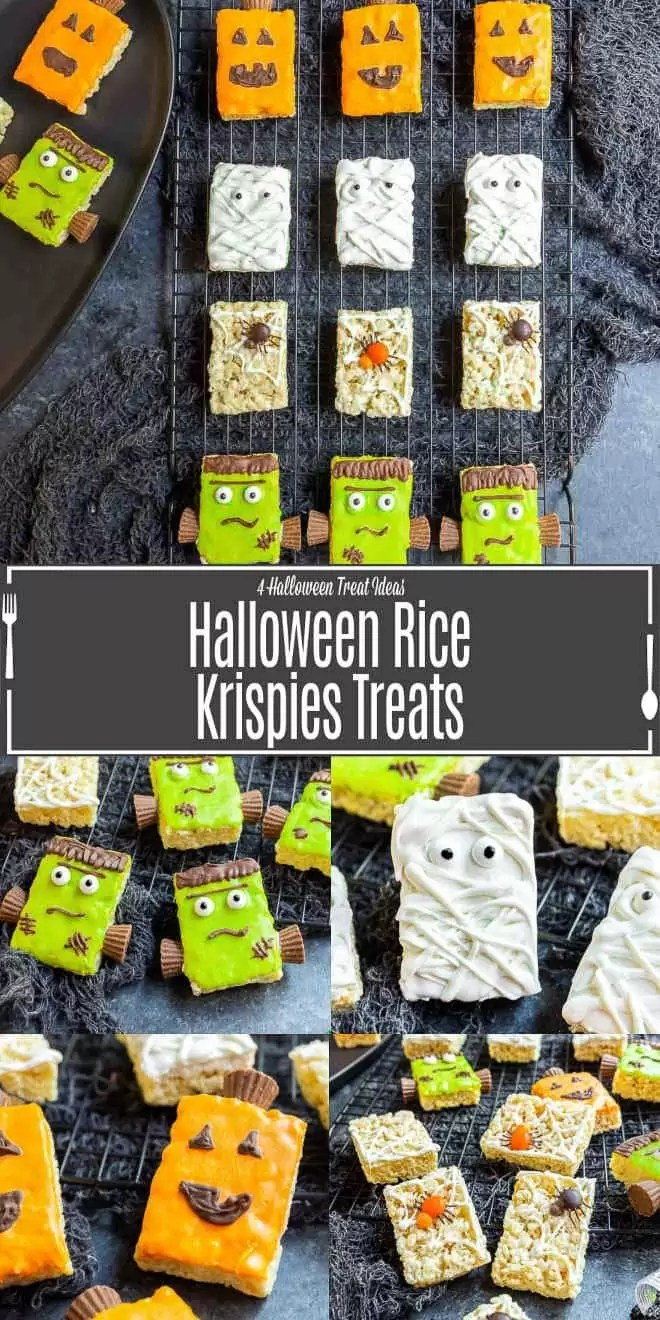 Pinterest image for Halloween Rice Krispies Treats with title text