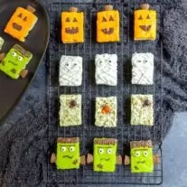 4 types of Halloween Rice Krispies Treats on a wire cooling rack