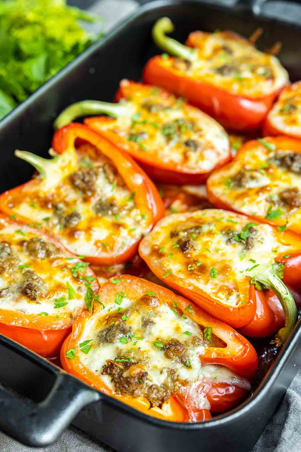 Lasagna Stuffed Peppers stuffed with beef and cheese
