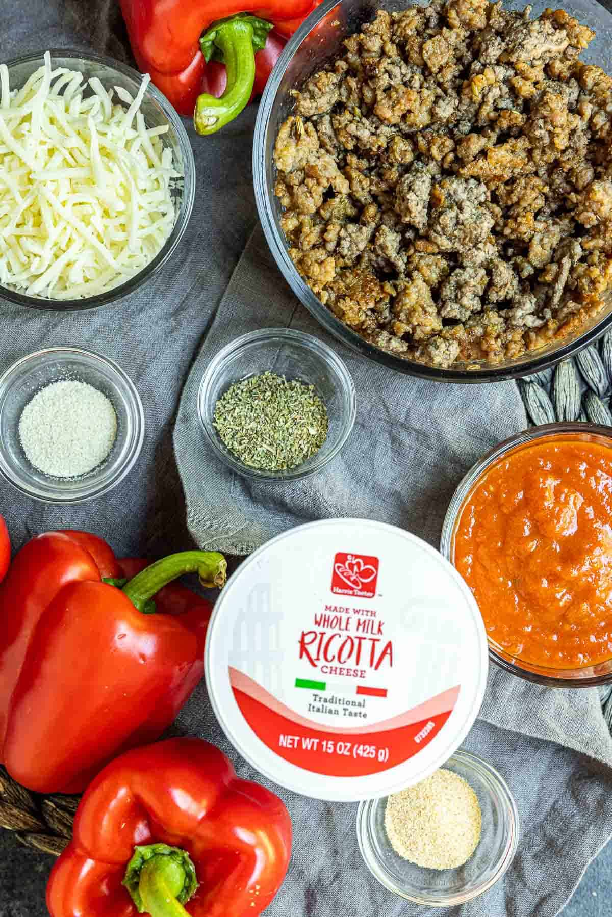 ingredients to make Lasagna Stuffed Peppers