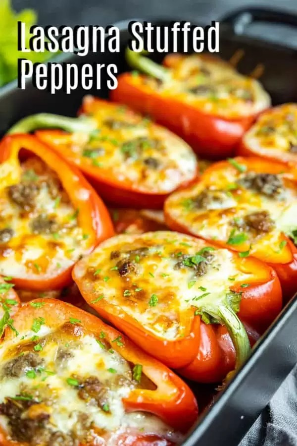 Pinterest image for Lasagna Stuffed Peppers with title text