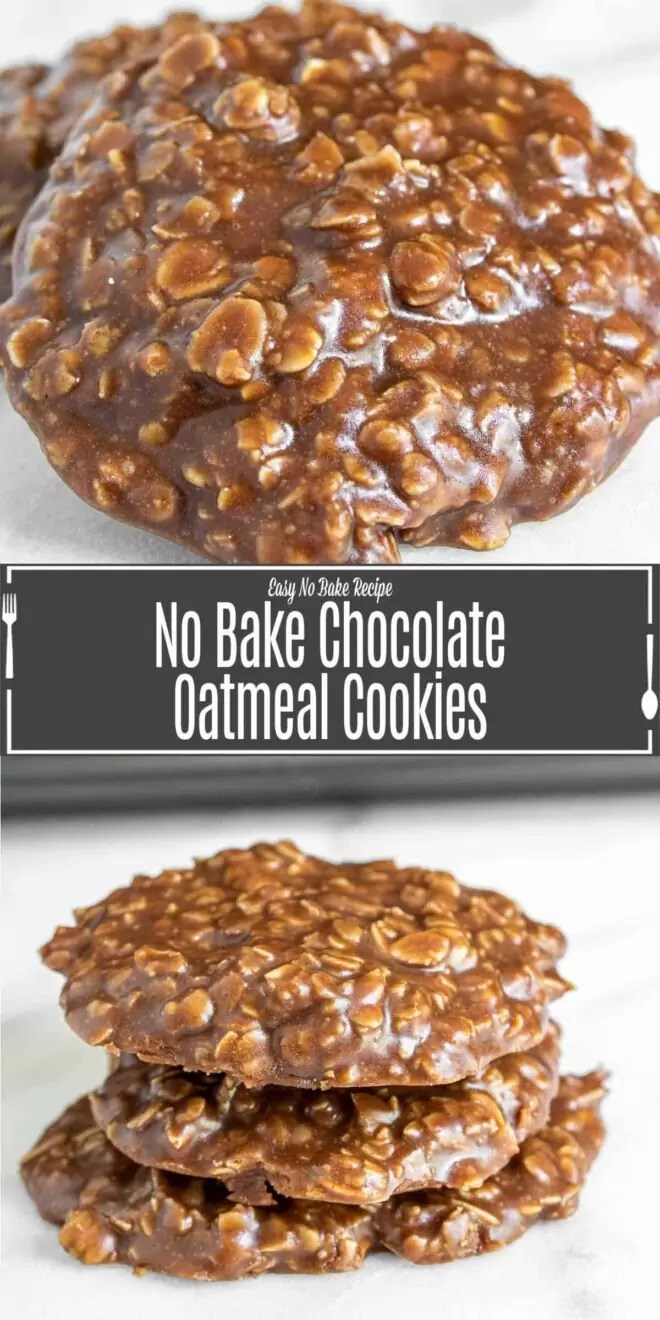 Pinterest image for No Bake Chocolate Oatmeal Cookie with title text