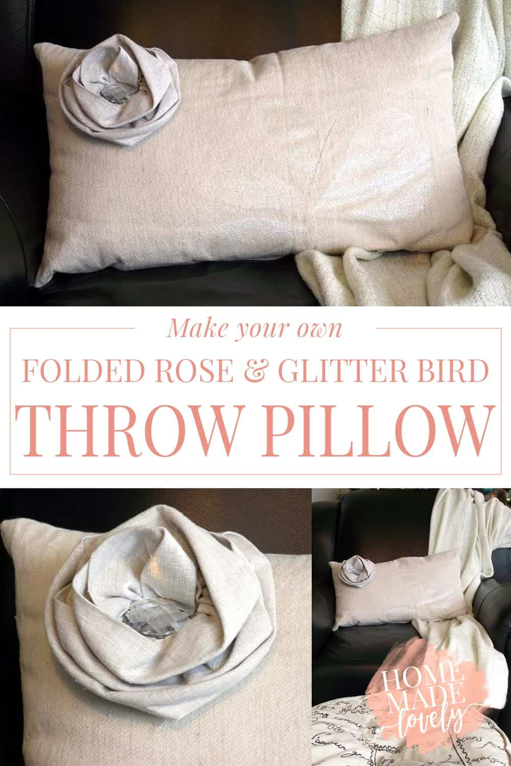 Make your own DIY folded rose and glitter bird pillow from some canvas drop cloth and a little imagination.