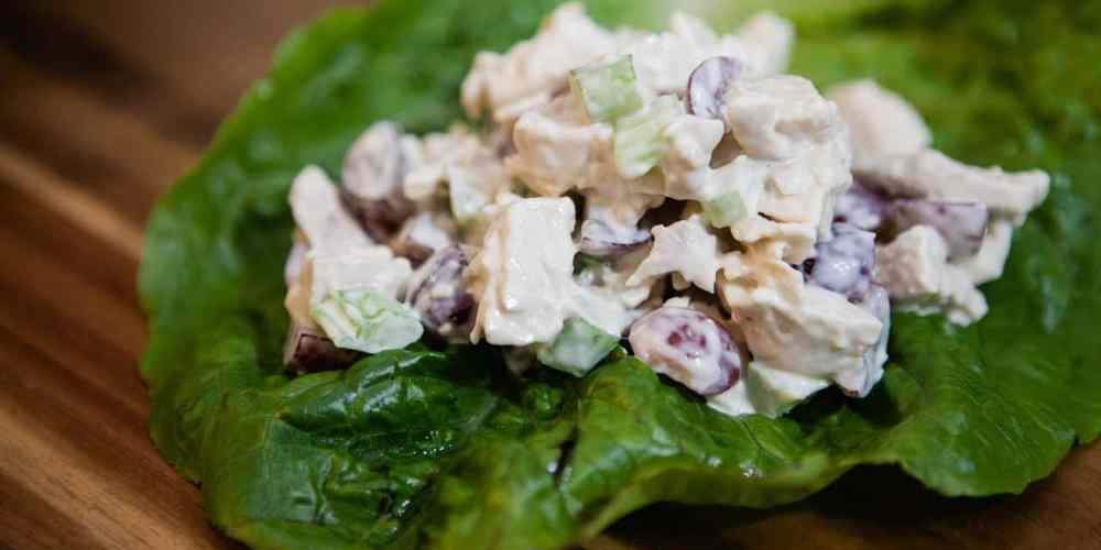 chicken salad in a lettuce wrap
