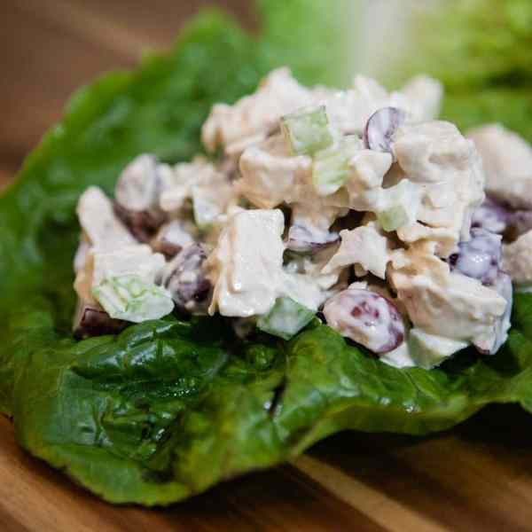 chicken salad in a lettuce wrap