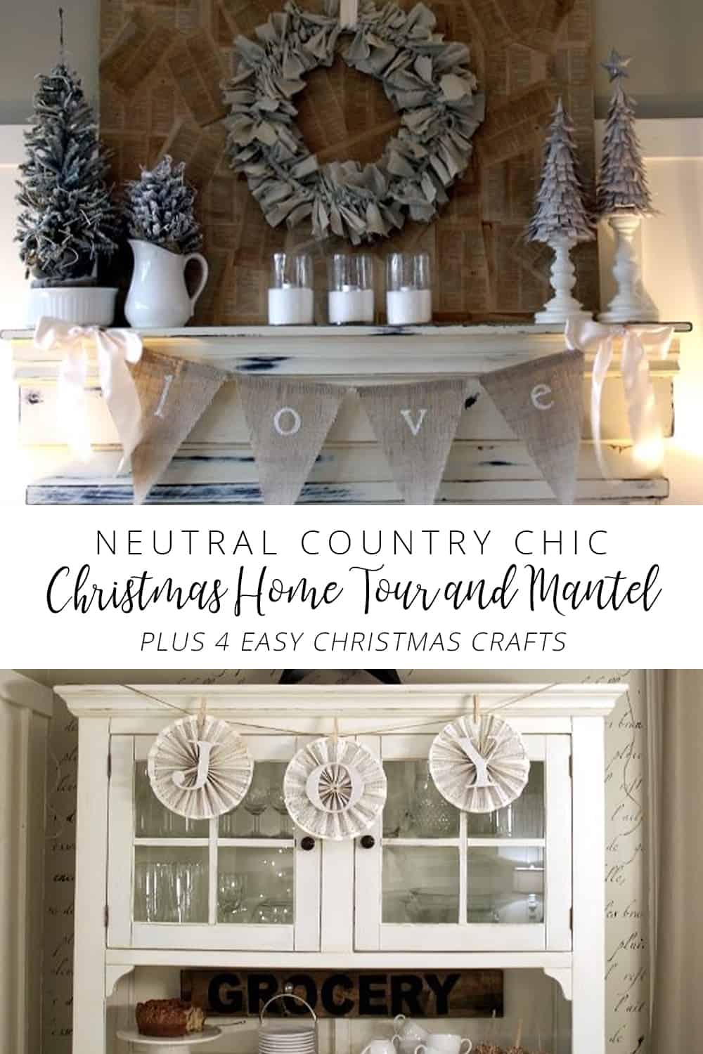 neutral country chic christmas tour and mantel