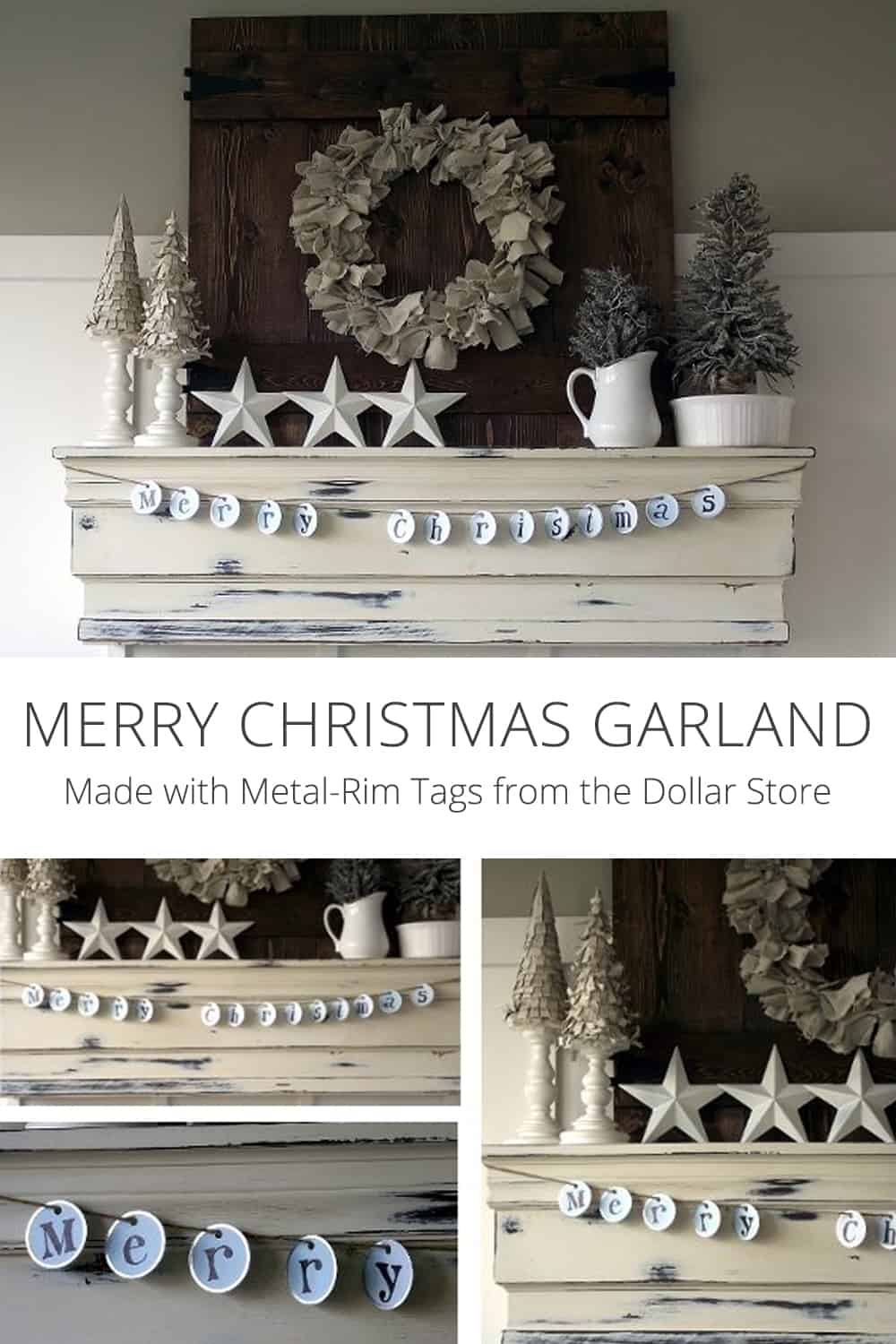 Merry Christmas Garland with Metal-Rim Tags from the Dollar Store