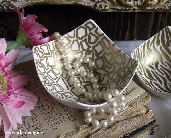 aka design giraffe bowl with pearls