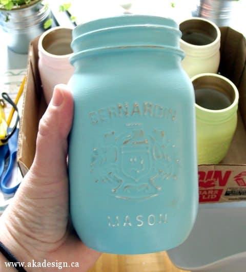 sanded painted mason jar