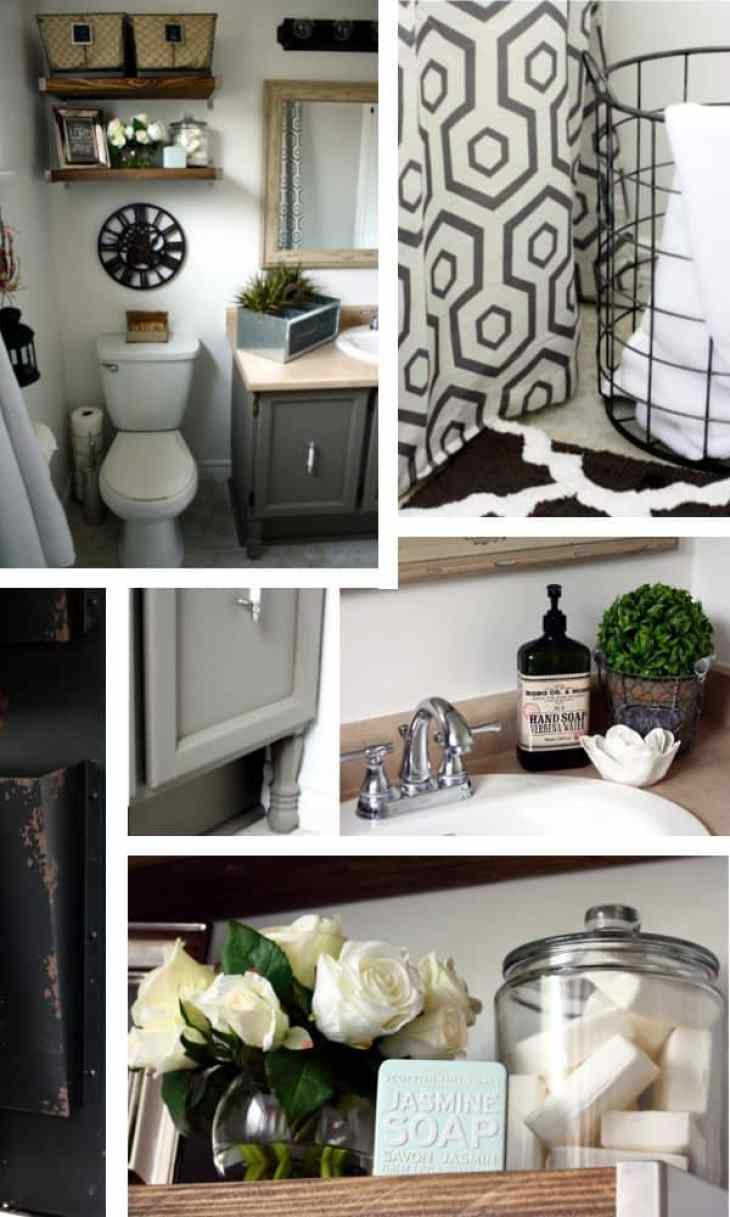 vintage industrial bathroom makeover collage 1