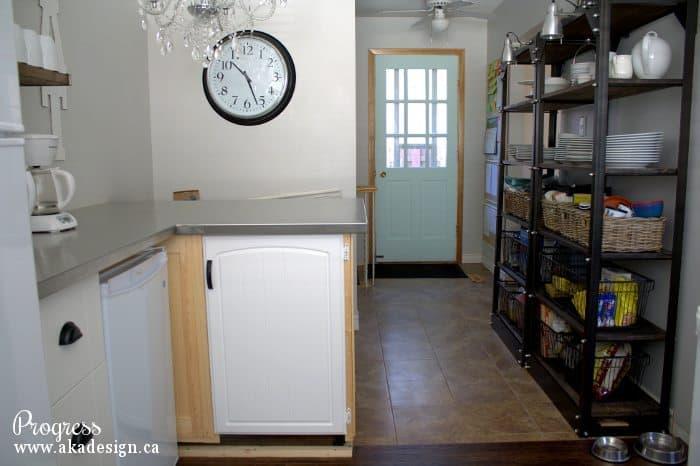 kitchen progress breakfast bar and side door