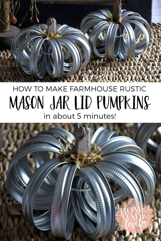 mason jar lid pumpkins diy pin