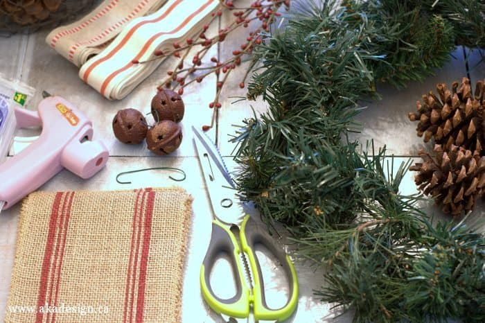 pinecone and rusty jingle bell wreath supplies