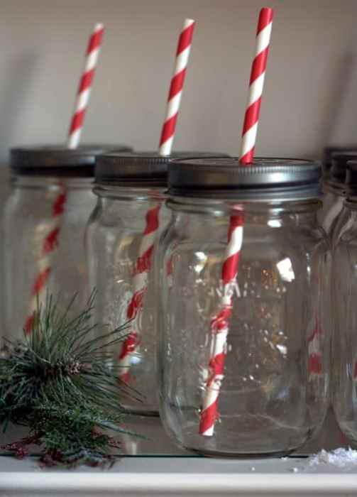 mason jar red stripe straws detail