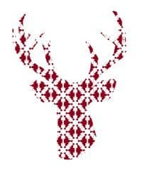 thumbnail deer silhouette red snowflakes