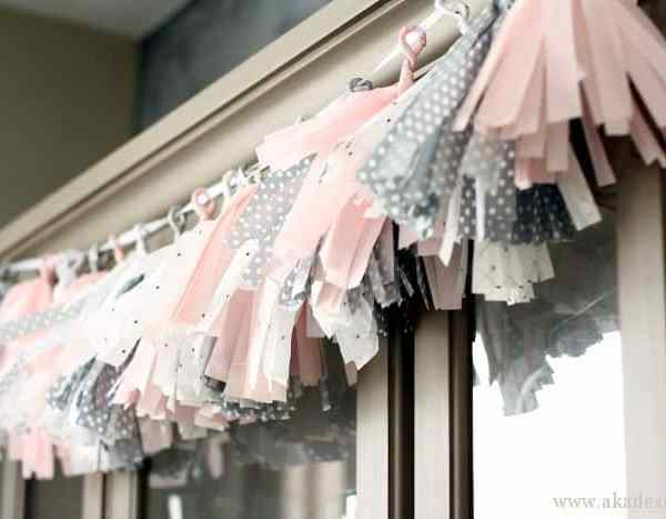 Easy Pink & Grey Tissue Paper Tassel Garland