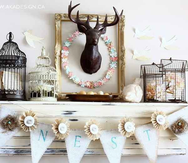 Layered and Lovely Spring Mantel – With Banners, Paper Birds & Rustic Bits