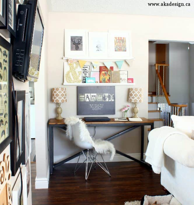 desk living room wall