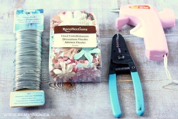 supplies for paper flower wreath