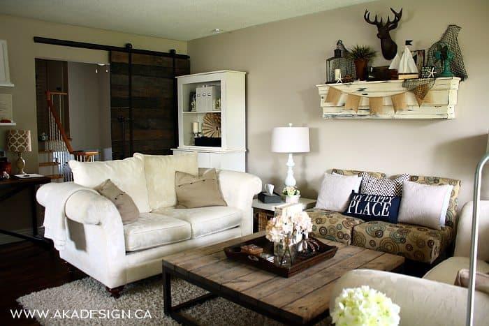 AKA DESIGN living room summer mantel