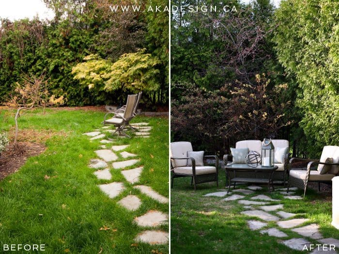 FLAGSTONE PATH SITTING AREA BEFORE AND AFTER