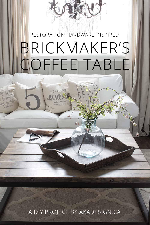 Restoration Hardware Inspired DIY Brickmaker's Coffee Table