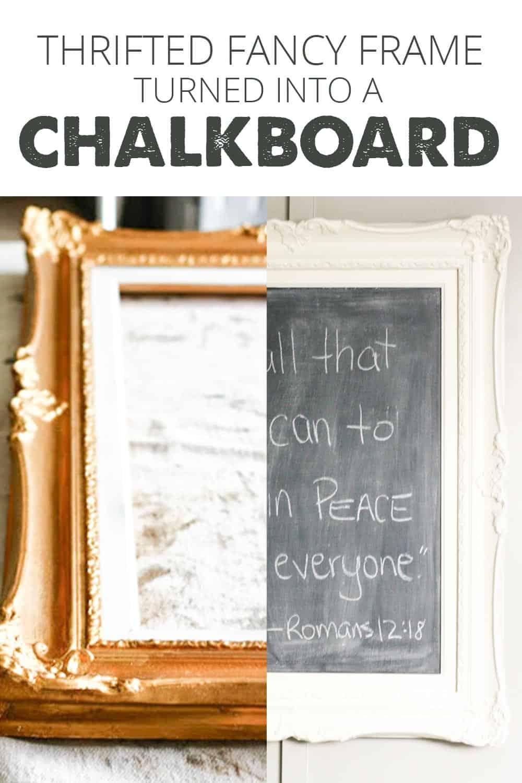 Old gold frame beside madeover ivory framed chalkboard
