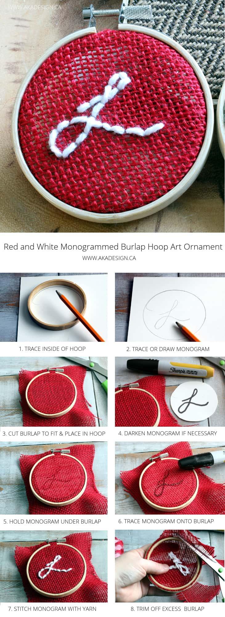 burlap monogrammed hoop art ornament
