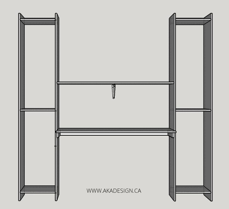 built in desk and shelves NO EXTRA SHELVES