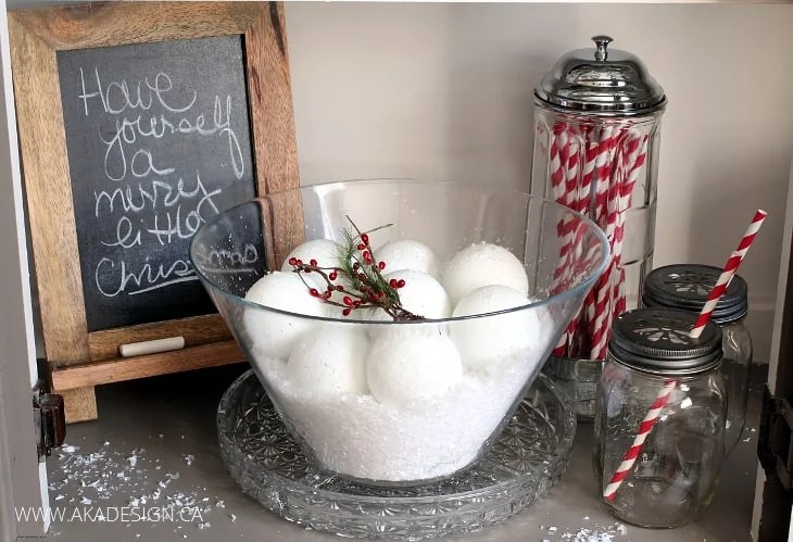 faux snowballs in a bowl