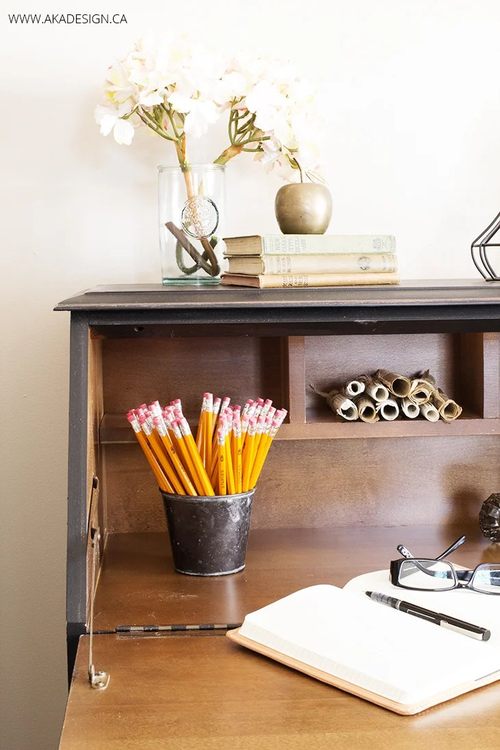OPEN BLACK SECRETARY DESK