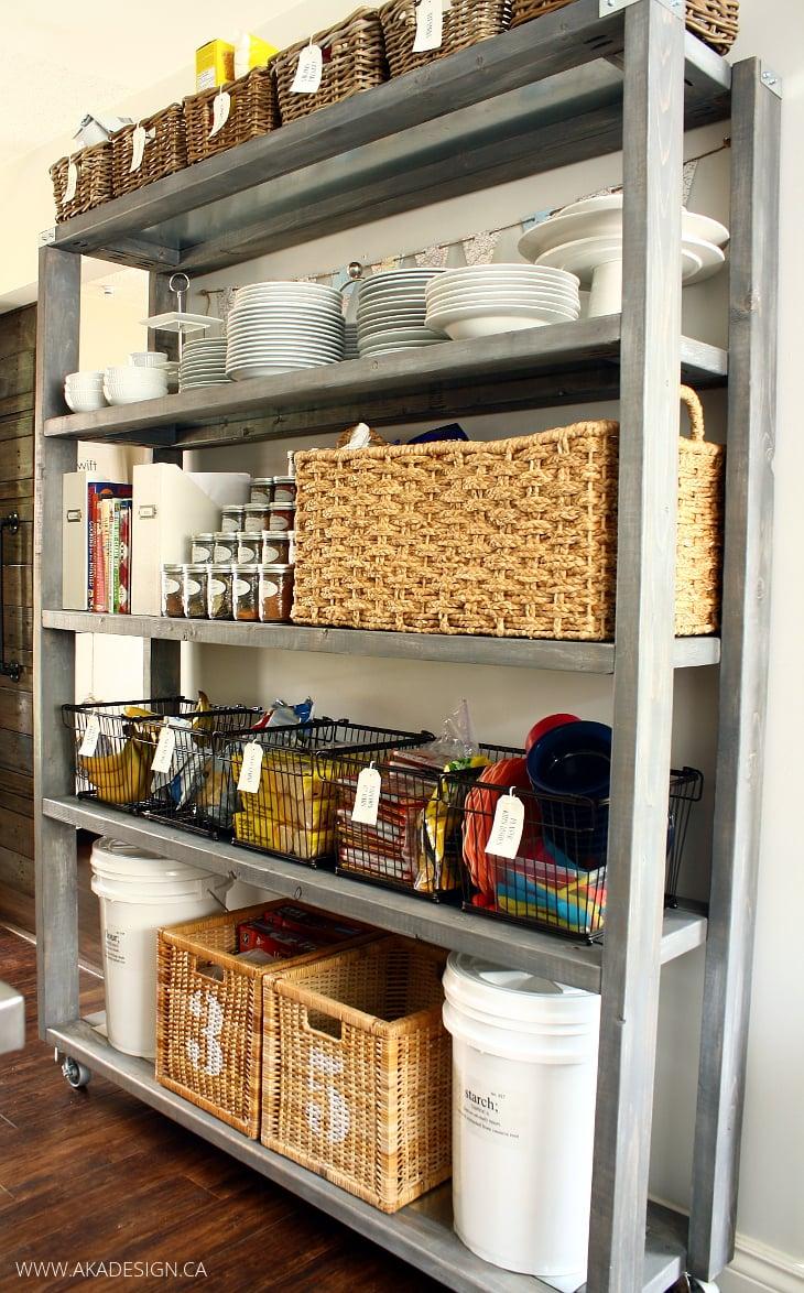diy rolling kitchen pantry shelves   www.akadesign.ca