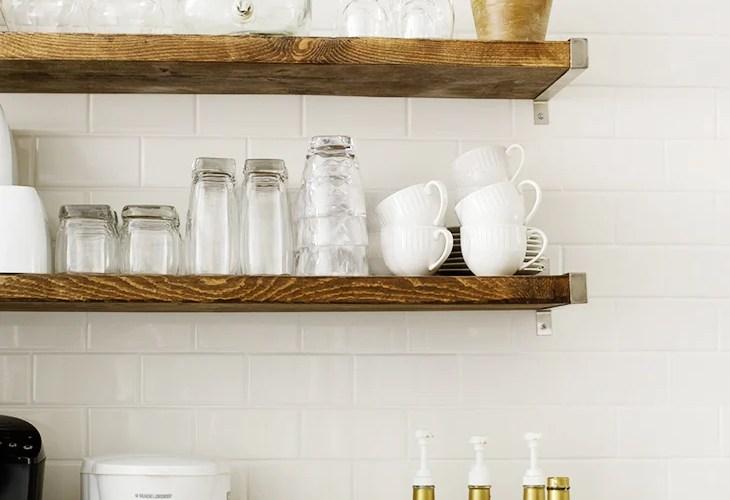 Coffee Bar, subway tile, open shelves, white mugs