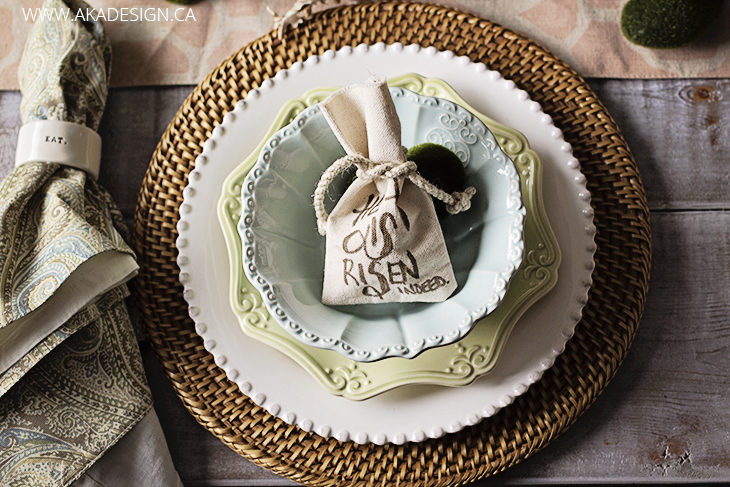 Rattan charger, scalloped plates napkin, easter