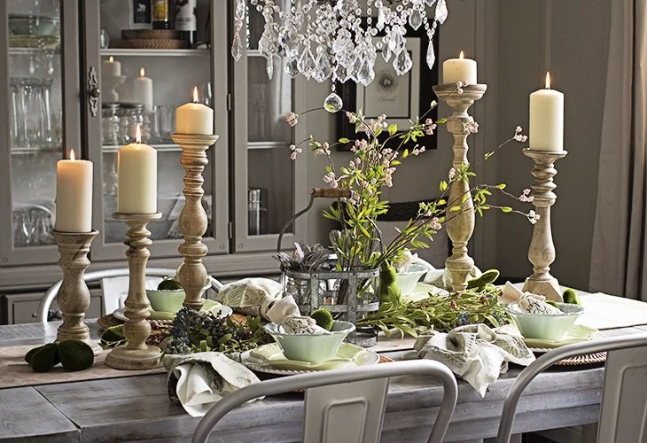 Spring Table in Grey Dining Room