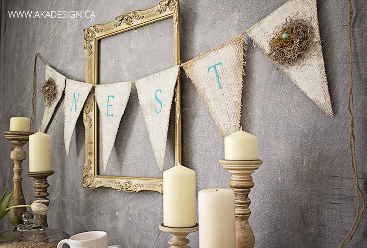 painted burlap banner nest