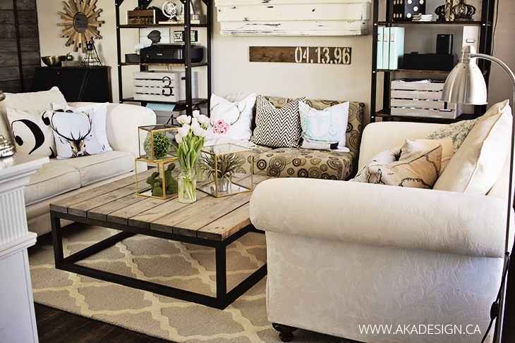 rustic living room trellis rug industrial shelves