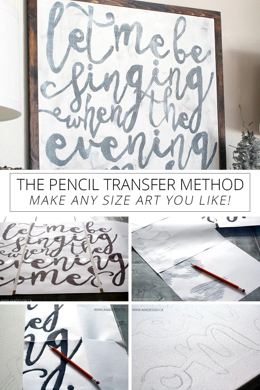 the pencil transfer method - make any size art you like
