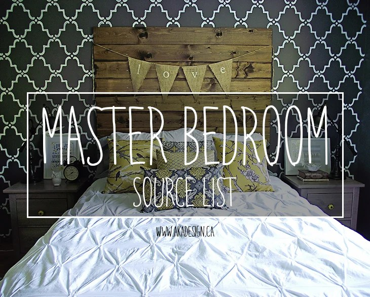 MASTER BEDROOM SOURCE LIST