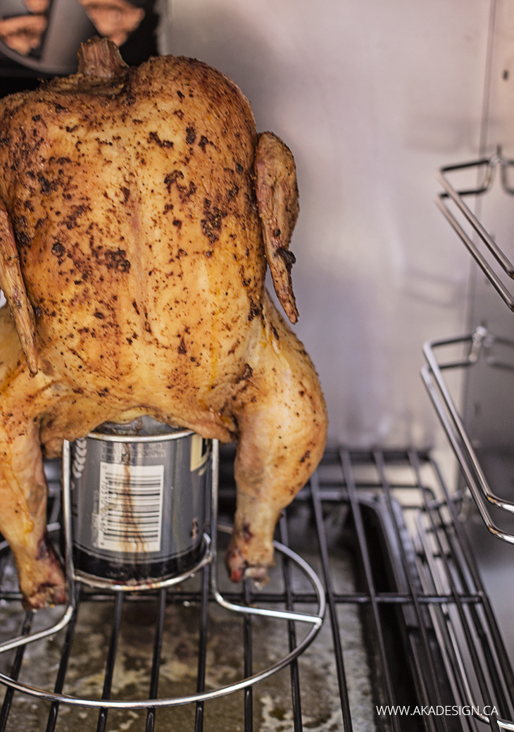 Beer Can Chicken in Brinkmann BBQ with Smoker