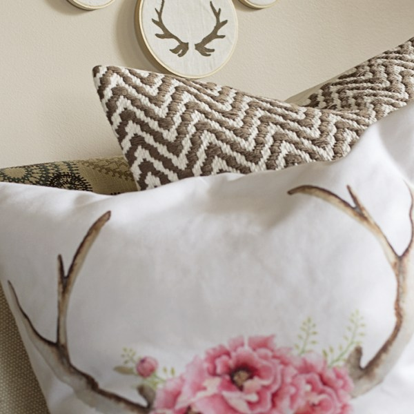 embroidery hoop with antlers art