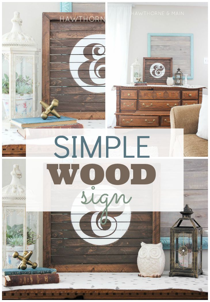 wood slat sign with white ampersand