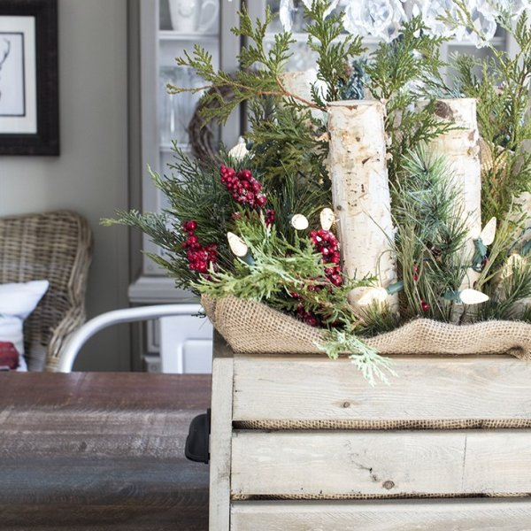 AKA Design Wooden Crate with Greenery and Lights Centerpiece