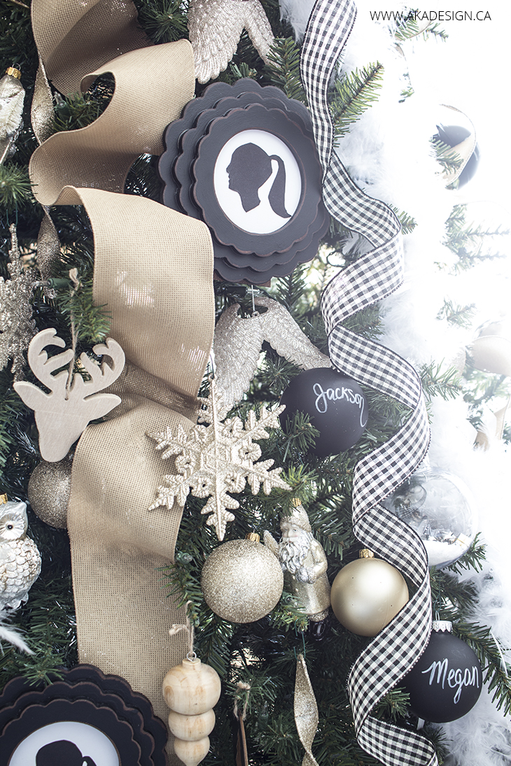 black, gold and wood christmas ornaments